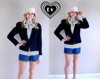 Sale vtg 80s BLACK RUFFLE wool BLAZER Small skinny fitted jacket secretary retro boho