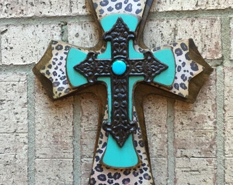 Turquoise Wood Cross Leopard Wall Cross