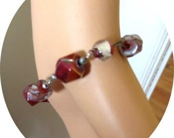 Delightful  Iridescent  Glass bead Bracelet  #028