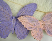 Butterflies - Wall Art - Nursery Decor Art - Vintage Syroco - Refinished Pastel Pink and Purple - Set of 2