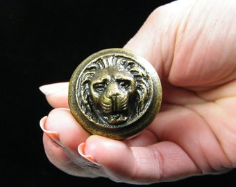 Lion Head Drawer pull SMALL Cabinet Knob / Furniture Hardware / Antiqued Brass Color Metal
