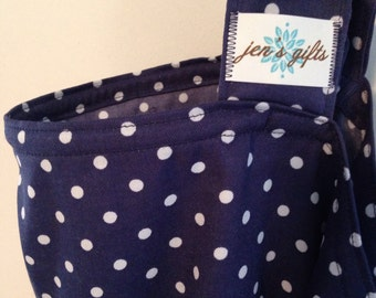 Nursing Cover Up in Navy with White Polka Dots, Super Soft Breastfeeding Cover in Navy