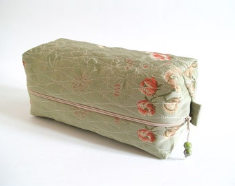 Green Floral Box Bag, Bridal Cosmetic Case, Toiletry Bag for Bridesmaid, Wedding Gift Bag, Christmas Gift for Her