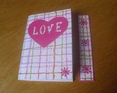 Pocket Notebook and Bookmark - Love Notebook - Jotter - Mini Notebook - pocket sketch book -  cupid and psyche