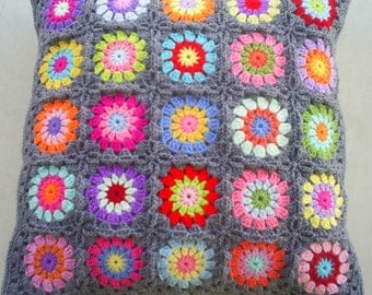 set of 2 crochet granny square cushion covers/ pillow covers in grey edging