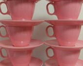 1960s Bubblegum Vintage Pink Melamine Melmac Boontonware Cup and Saucer set (4 cups/4 saucers)