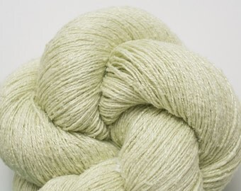 Pale Celery Green Recycled Silk Yarn, 1147 Yards Available