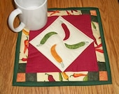 Quilted Candle Mat Mug Rug Coaster Red Hot Chili Pepper Southwestern Decor Red Green Mini Quilt