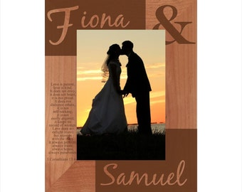 Personalized Couple's Photo Frame - Engraved Wood Wedding Picture Frame - Customized Engagement designed frame - Love Anniversary Frame