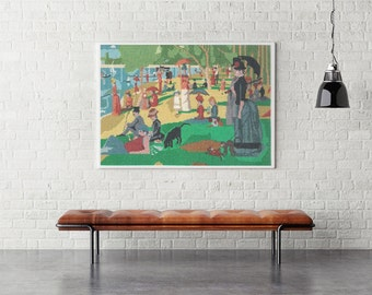 Cross Stitch Chart Sunday Afternoon on the Island of La Grande Jatte by Georges Seurat by Ladybug Designs