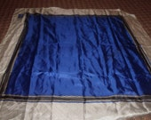 vintage ladies head neck scarf blue white print liz claiborne vivid silk