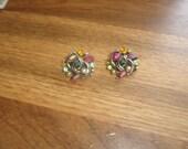 vintage clip on earrings goldtone colorful rhinestones faux pearls