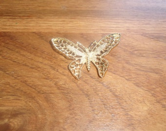 vintage pin brooch goldtone filigree butterfly