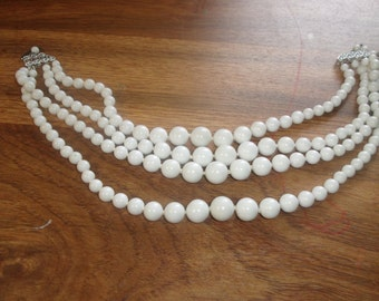 vintage necklace 4 strand white glass beads