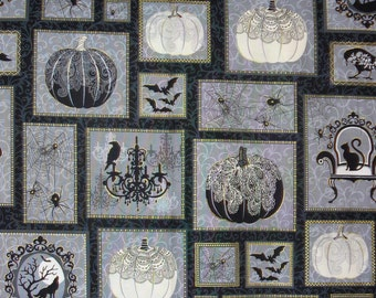 Henry Glass Spellbound,  Halloween Collage, Black Cats Bats Crows Pumpkins, Halloween Fabric, Metallic Accents, By the Yard