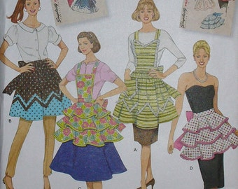 "Simplicity 2592 Apron Pattern, Simplicity Archives, Woman""s Apron, 2592 Apron, Full and Half, New Uncut, Sizes S M L"