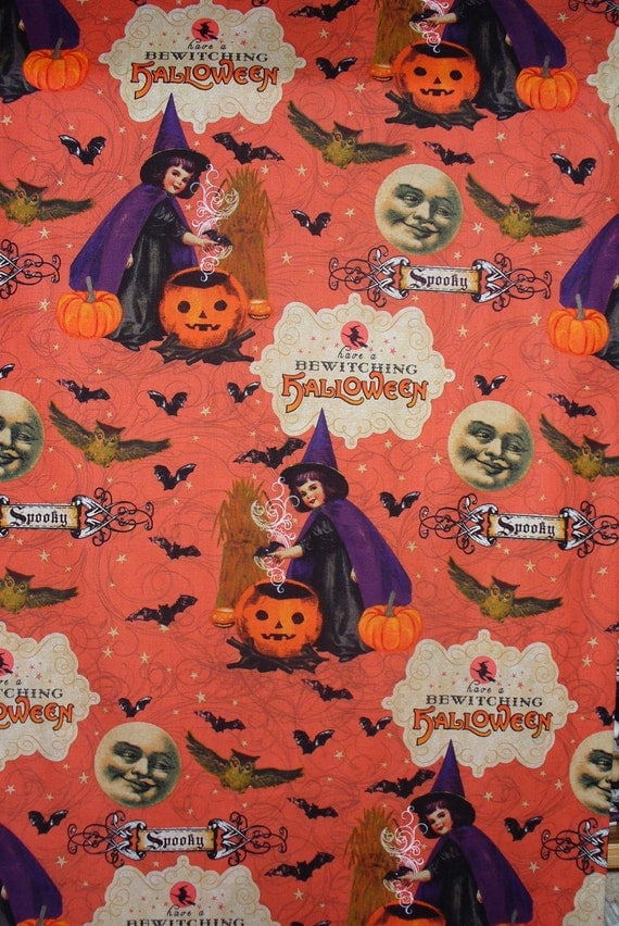 Halloween fabric bewitching fabric vintage children for Vintage childrens fabric by the yard