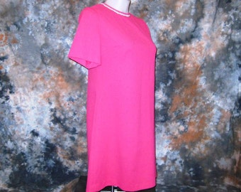 60s Scooter Dress Plus Size Dress Shift Dress Short Sleeve Dress Bright Pink Scooter Dress MOD 1960s  Pink Dress  Vintage Round Neck Dress