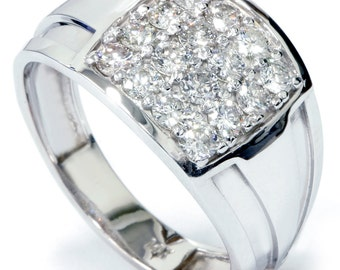 Mens Diamond Ring, 1ct Diamond Wedding Ring, White Gold Mens Diamond Wedding Ring Mens 10K White Gold Diamond Wedding Band