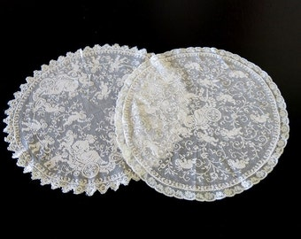 2 Filet Lace Round Doilies Hand Made Cherub Neoclassical Design 132b