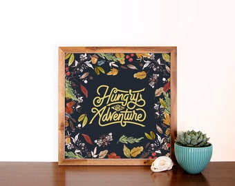 Hungry For Adventure Quote Faux Gold Foil Art Print, Minimalist Art, Home, Office, Bathroom, Dorm, Nursery Art, Gift