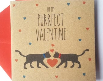 Black Cat Valentine Card - To my purrfect valentine