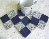 Blue Floral Fabric Drink Coasters - Wine Glass Coaster Set - Square Drink Coaster - Rustic Decor
