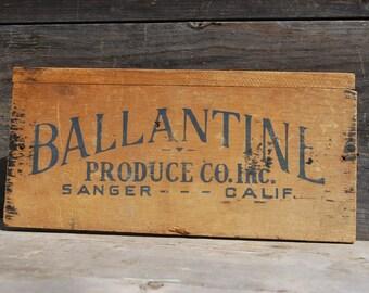 Ballantine Priduce Co. Wooden Advertising Box Panel