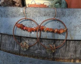 Carnelian Hoops-Copper Hoops-Carnelian Earrings-Holistic Gift-Gemstone Earrings-Gemstone-Hoop Earrings-Boho Jewelry-Hippie-Sea Glass-Namaste