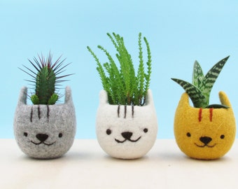 Planter / Girlfriend gift / Felt succulent planter / Neko Atsume / Kitty collector / Cat head planter / Kawaii cat gift / Set of three