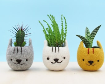 Planter with face, Girlfriend gift, Felt succulent planter, Neko Atsume, Kitty collector, Cat head planter, Kawaii cat gift, Set of three