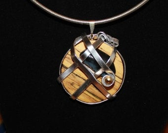 Spalted Oak and Stone Silver Plated Wire Wrapped Pendant, Slide, Necklace