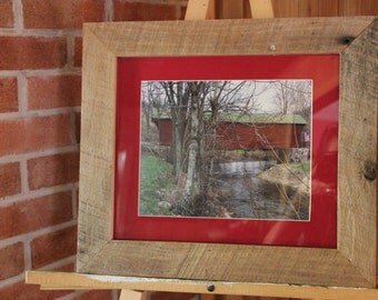 """Scenic Covered Bridge w/ American flag print.  From the """"Appalachian Scenic"""" Series"""
