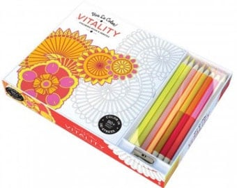 25% OFF Vitality Adult Coloring Book Kit : Vive Le Color! INCLUDES pencils sharpener Mandala doodles colouring meditation relaxation