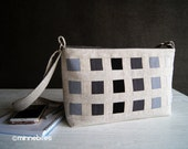 Modern Handbag by MinneBites / Handmade Black and White Purse - Zipper Top - Modern Messenger Bag - Cross Body Strap - Vegan - Ready to Ship