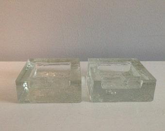 2 Modernist TAPIO WIRKKALA Finland Melting Ice Texture Glass Ashtray Set