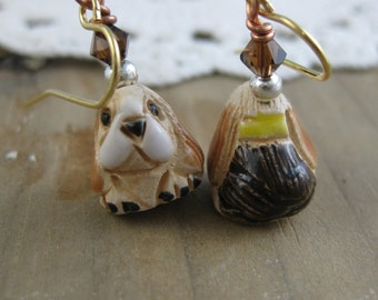 Little Hound Dogs Hand Painted Critter Earrings // Beaded Dangle Earrings // One of a Kind // Ready to Ship