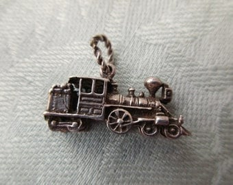 sterling silver charm - train locomotive, engine