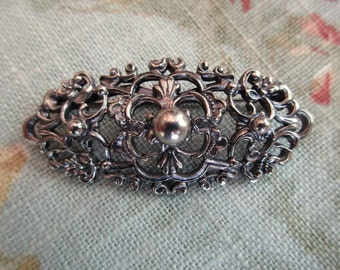 vintage silver floral pin - victorian, made in Austria