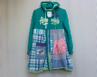 Upcycled Hippie Hoodie, Colorful Patchwork and Appliqué Aqua Green Sweatshirt Jacket