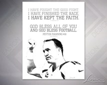 Peyton Manning #18 - The Sheriff - 2 Timothy 4:7 - Football Vertical Archival Print - Text with Image - 8x10, 11x14, 16x20, 20x24, 24x30
