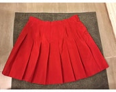 Red Pleated High Waisted Tennis Skirt