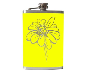 Daisy Flower Flask- alcohol, liquor, booze, Star Wars, hip- whiskey,  Pick your COLOR!