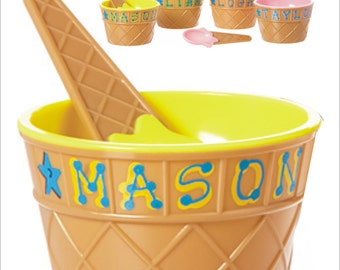 SALE ** Ice Cream Dish with Spoon ** Personalized and Giftwrapped - Ice Cream Bowl - Ice Cream Cup