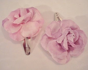 Rose Hair Clips // Girls Hair Clips // Flower Clips // Pink and Purple Flowers