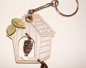 Owl and Birdhouse Keychain