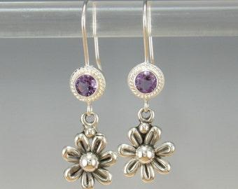 ER597- Sterling Silver Amethyst Flower Earrings- One of a Kind