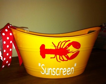 Personalized Tub -  Personalized Bucket - Birthday Gift - Lobster - Party Favor - Hostess Gift - Best Friend Gift - Summer Fun