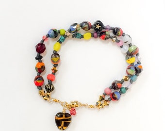 Confetti and Crystal knotted bracelet with gold magnetic clasp