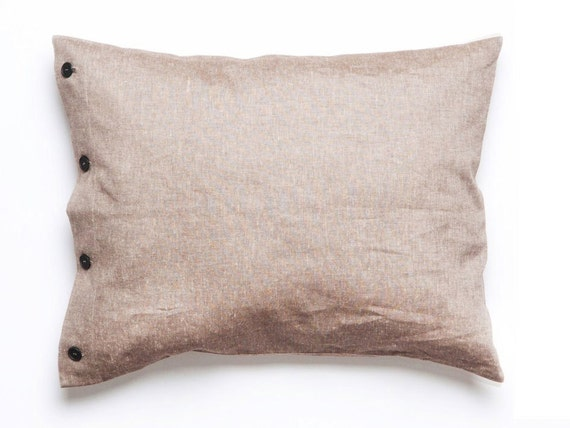 Brown pillowcase Linen cotton pillowcases with buttons closure King Euro or standard size shams